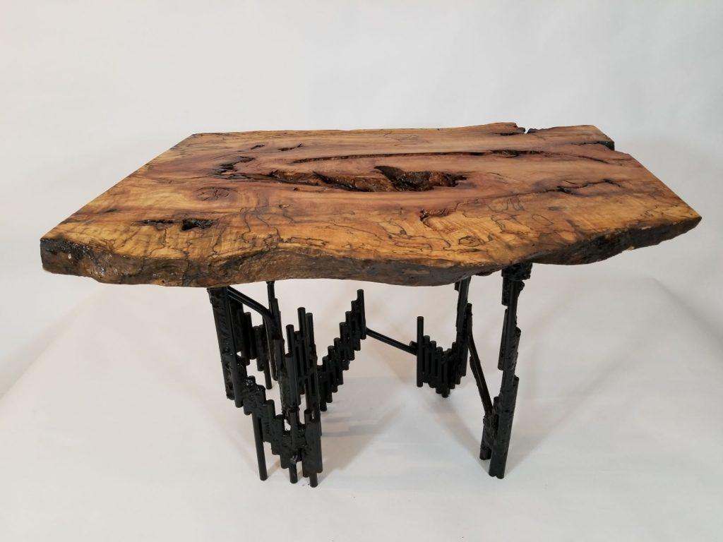 metal base wood coffee table