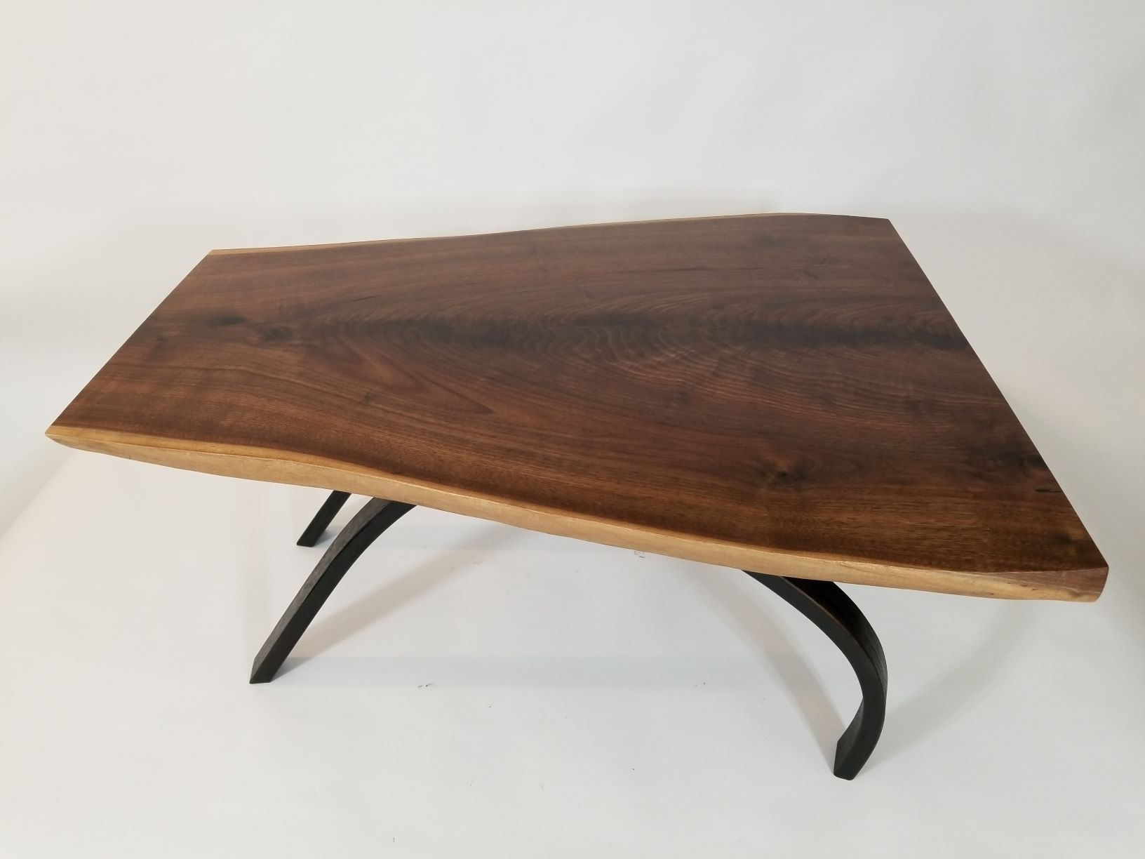 "D101 Laminated bent wood base with air dried walnut top. 16""tall,  32"" wide, 27"" deep. Shipping paid by buyer."