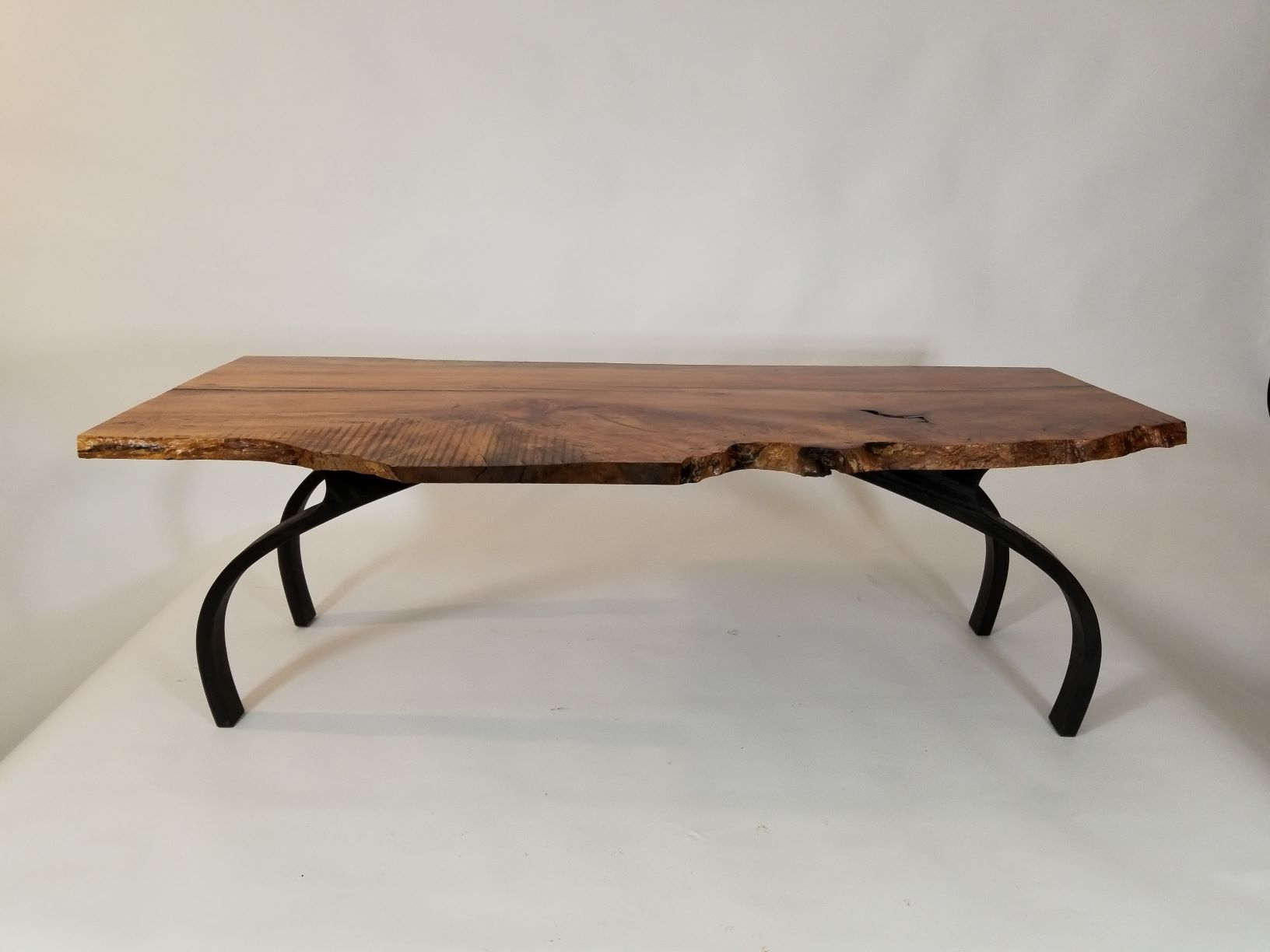 "D102 Laminated bent wood base with air dried Spalted Maple top. 16""tall,  51"" wide, 21"" deep. Shipping paid by buyer."